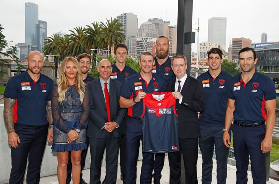 Zurich team with members of the Melbourne Football Club