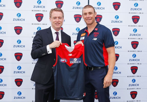 Zurich CEO Tim Bailey with Melbourne Football Club head coach, Simon Goodwin
